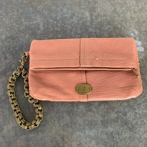 Fossil wristlet clutch rare sample pink and chain